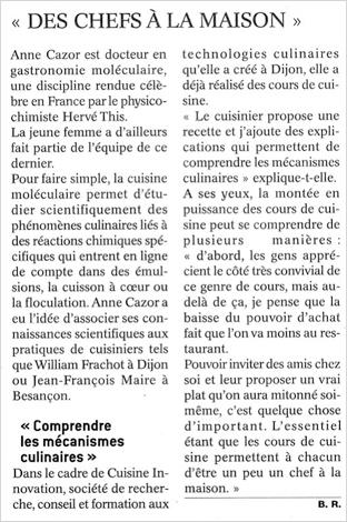 Le Bien Public, 14/09/2009